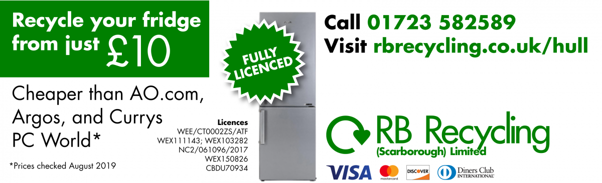 Recycle your fridge from just £10. Cheaper than AO.com, Argos, and Currys PC World (checked August 2019). Fully Licenced. Call 01723 582589. Visit rbrecycling.co.uk/hull